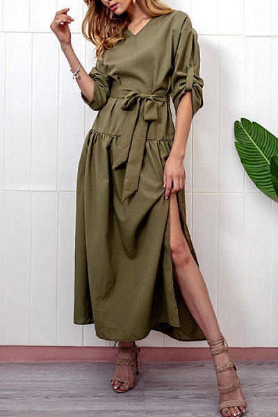 V Neck  Slit  Belt  Plain  Long Sleeve Maxi Dresses