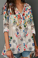 Casual V-Neck Single-Breasted Floral Print Long-Sleeved Shirt