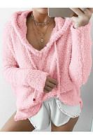 Long Sleeve V Necke Pocket Pullover Hoodies Sweatshirts
