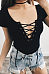 V Neck  Lace Up  Plain Bodysuits