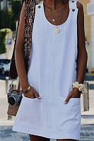 Fashion Pure Vest Pocket Casual Dress