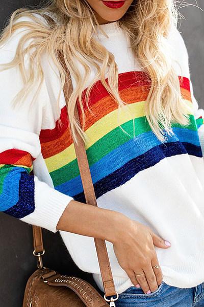Round Neck  Striped Sweaters
