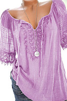 Spring Summer  Polyester  Women  Tie Collar  Decorative Lace  Plain  Short Sleeve Blouses