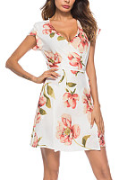 Deep V Neck  Drawstring  Belt  Floral Printed  Short Sleeve Casual Dresses