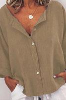 Deep V Neck  Single Breasted  Plain  Blouses