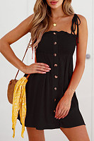 Spaghetti Strap  Decorative Buttons  Plain  Sleeveless Casual Dresses