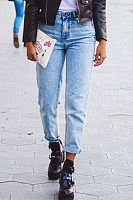 Fitted Plain  Basic Jeans