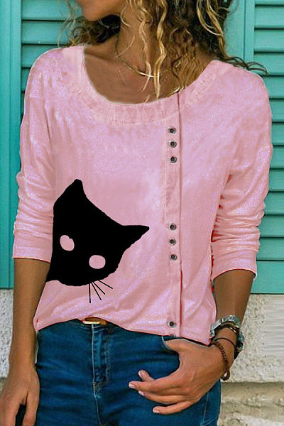 Cat Printed Buttons Round Neck Casual Shirts