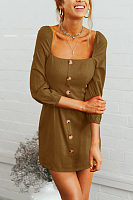 Square Neck  Single Breasted  Plain  Long Sleeve Casual Dresses