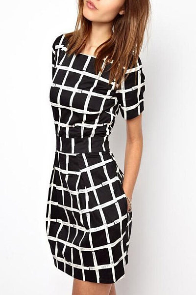 Round Neck  Checkered  Short Sleeve Skater Dresses