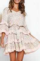 V-Neck Print Tiered Ruffled Everyday Dress