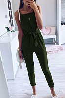 Spaghetti Strap Plain Sleeveless Casual Jumpsuits