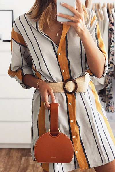 Casual V-Neck Button Striped Long Sleeve Loose Shirt