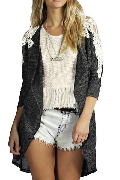 Decorative Lace  Plain  Basic Cardigans