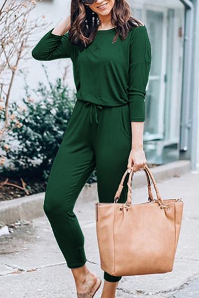 Women Casual Belt Plain Jumpsuits