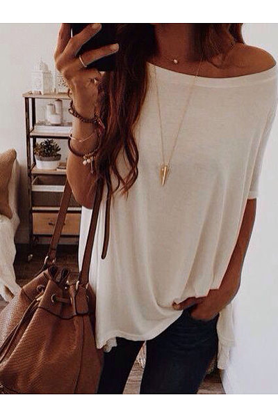 Casual Loose Off-The-Shoulder Short-Sleeved T-Shirt