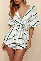 Deep V Neck  Striped  Half Sleeve Playsuits