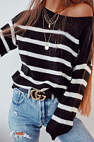 One  Shoulder  Striped Basic  Sweaters