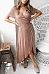 Surplice  Asymmetric Hem  Plain  Short Sleeve Maxi Dresses