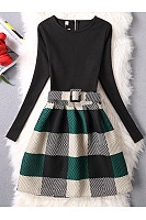 Round Neck Plaid Belt Skater Dress