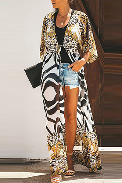 Fashion Zebra Leopard Printed Seven-Points Sleeve Cardigans