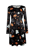 Halloween Round Neck  Printed Casual Dresses