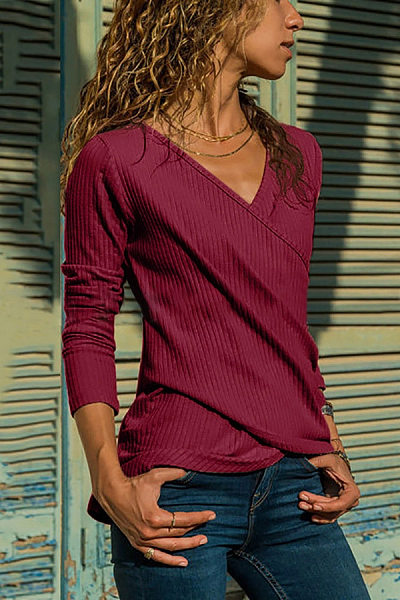 Casual V Neck Pure Colour Long Sleeve Bodycon T-Shirt