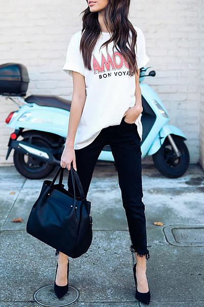 Amour Bon Voyage Round Neck  Patchwork  Letters T-Shirts