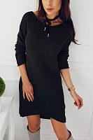 Round Neck  Asymmetric Hem  Plain Casual Dresses