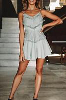 Spaghetti Strap  Backless  Belt Loops  Plain  Sleeveless Skater Dresses