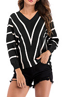 V  Neck  Striped  Basic Sweaters