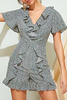 V Neck  Printed  Short Sleeve  Elegant Playsuits