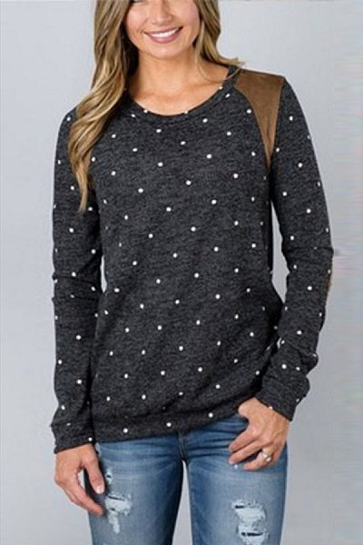 Round Neck  Dot Patchwork T-Shirts