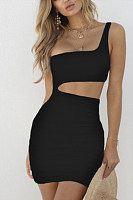 One Shoulder  Plain Bodycon Dresses