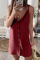 Spaghetti Strap  Single Breasted  Plain  Sleeveless Casual Dresses