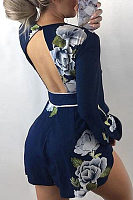 Deep V Neck  Backless  Floral Printed  Long Sleeve  Playsuits
