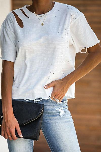 Athleisure Pure Colour Cotton Linen Loose Short Sleeve T-Shirt