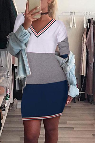 V Neck  Stripes  Long Sleeve Bodycon Dresses