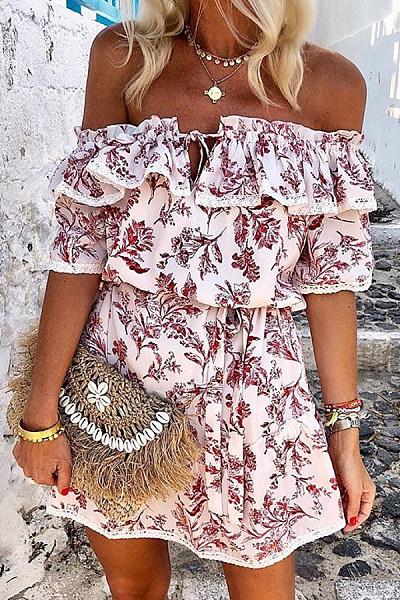 Off Shoulder Floral Print Skater Dress