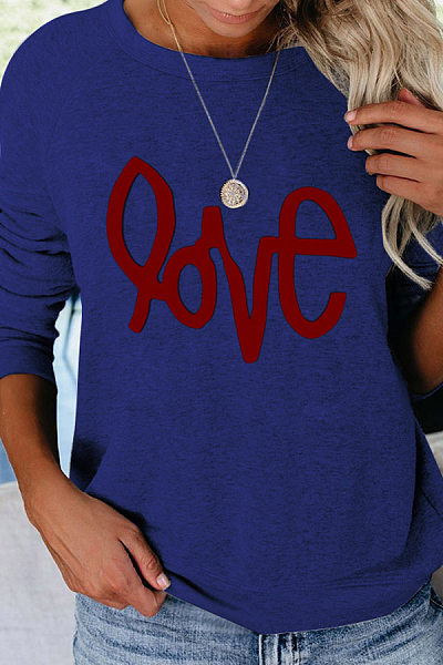 Casual Printed Round Neck Long Sleeve Sweatshirt