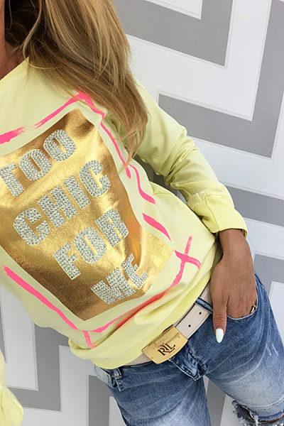 Round Neck  Diamante  Letters T-Shirts