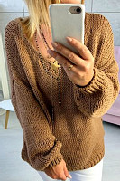 Open Shoulder  Loose Fitting  Plain Sweaters