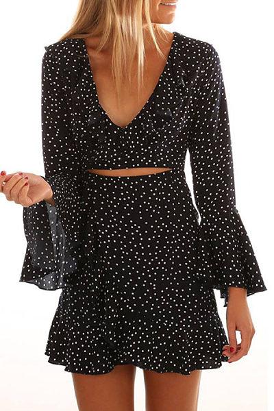 Deep V Neck  Asymmetric Hem  Dot  Bell Sleeve  Long Sleeve Bodycon Dresses