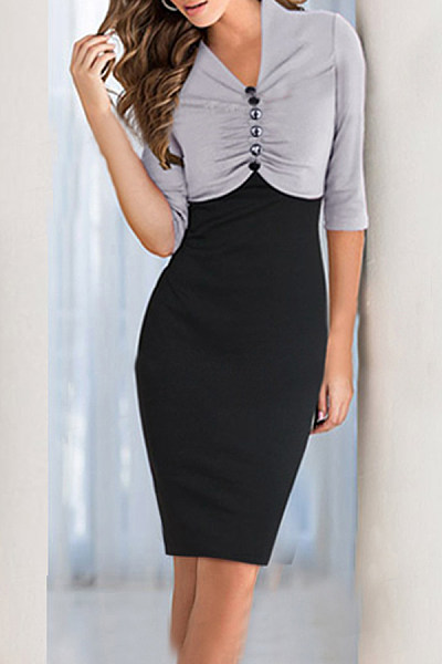 V Neck  Color Block  Half Sleeve Bodycon Dresses