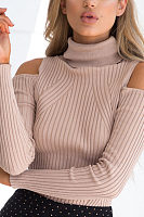 Open Shoulder Turtle Neck  Plain Sweaters