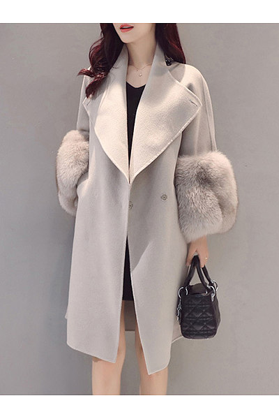 Longline Plain Lapel Pocket Woolen Coat