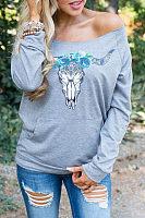Scoop Neck  Kangaroo Pocket  Animal Prints Sweatshirts