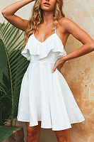 Spaghetti Strap  Backless Flounce  Plain  Sleeveless Skater Dresses