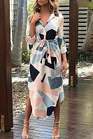 Fold Over Collar  Asymmetric Hem  Assorted Colors Maxi Dresses