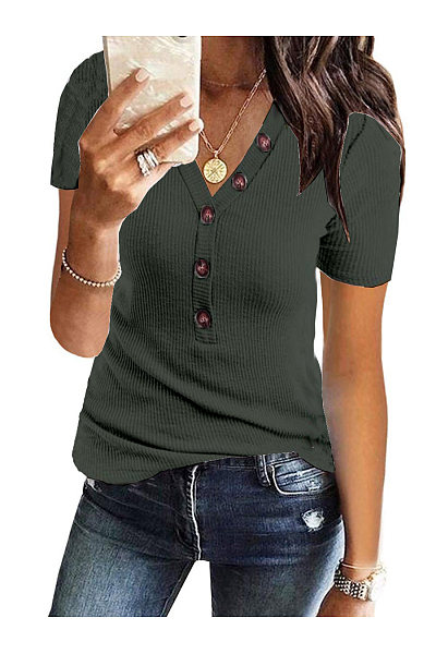 Casual V-Neck Button Short Sleeve T-Shirt